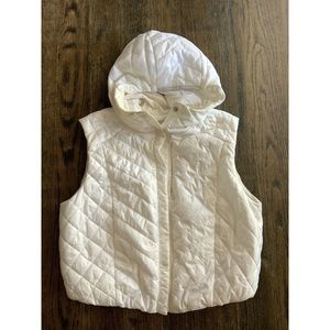 LULULEMON Puffer Vest Cropped White Quilted Snap